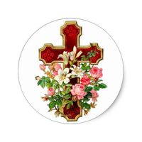 Floral Cross Classic Round Sticker