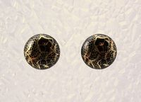 Black and Gold Button Magnetic Clip Non Pierced Earrings $40.00 Designed by LauraWilson.com