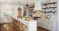 The kitchen was the space most radically altered in this Fixer Upper renovation. A wall was removed, opening the kitchen onto the dining room and effectively increasing the kitchen's footprint threefold.