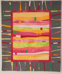"""Contemporary quilt made from hand dyed discarded shirts and """"a grey fabric I had on my shelf"""". By Marjon Savelsberg on Flickr."""