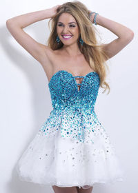 Blush 9880 Blue White Cutout Crystals Beaded Short Prom Dresses