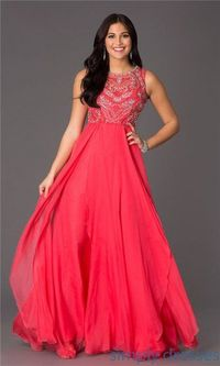Long Watermelon Rhinestones NA-8136 Open Back Prom Dresses