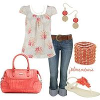 A fashion look from July 2012 featuring floral shirt, pink sandals and red purse. Browse and shop related looks.