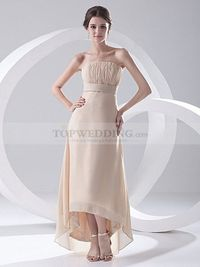 STRAPLESS CHIFFON OVER SATIN HI LO EVENING DRESS WITH RUCHED BODICE
