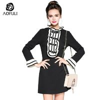 S- 5XL Women Vintage Ruffles Dress Autumn 2017 Fashion Plus Size Tiger Embroidery Flare Sleeve Dress Black Brand Apparel 5970 $54.33
