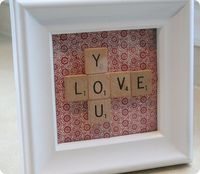 Scrabble Valentine. I made this! Inexpensive and extremely easy to do. Now I have a good use for my old Scrabble tiles. Can't wait to make more Scrabble projects. :)