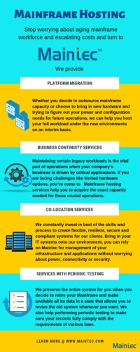 Mainframe Hosting - Maintec Technologies Stop worrying about aging Mainframe workforce and escalating costs. Turn to Maintec.