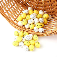 Pack of 50 Mix of Yellow and White Speckled Artificial Easter Eggs. 20mm x 15mm. Plastic Party Decorations £7.99
