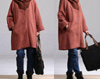 Dark orange in color stitching wool coat long paragraph / knitted collar stitching woolen jacket