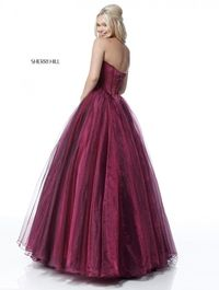 Organza Satin Unique 2018 New Berry 51583 Strapless Ball Gown
