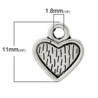 Pack of 50 Silver Tone 10mm Heart Charms. Romance Jewellery Romantic Necklace £3.69