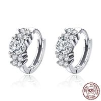 925 Sterling Silver Crystal Round Circle Clear Cubic Zircon Hoop Earrings for Women Sterling Silver Jewelry $19.96