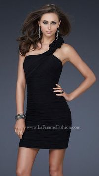 La Femme 16993 Black Asymmetrical Neckline Simple Homecoming Dresses