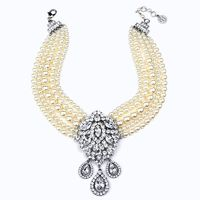 Ben-Amun - Multi Strand Pearl Necklace with Crystal Tear Drops Pendant - Designer Party Dress & Formal Gown