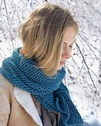 """Purse-Stitch Scarf - Large needles make for speedy knitting�€""""and a pretty, loosely textured scarf. The one here, right, is made from merino wool, known for being soft and lofty. (Merino sheep, below right, are covered with fleece from ears..."""