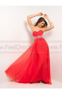 Empire Sweetheart Beading Chiffon Red Evening Dresses