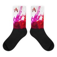 Purple and Red Ink Pool on White Socks $20.00