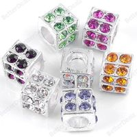 Multicolor Crystal Cube European Charm Beads Fit Snake Chain Silver Plate