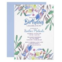Botanical Beauty Blue Watercolor Womans Birthday Invitation