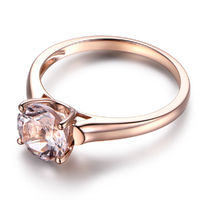 7MM ROUND CUT MORGANITE ENGAGEMENT RING 14K ROSE GOLD SOLITAIRE RING