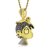 Gold Plated Crystal Studded Cartoon Rapper Pendant Rope Chain Necklace £3.95