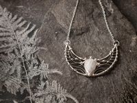 White Moonstone Necklace, Crescent LARGE MOON Charm Pendant, Sterling Silver, Stained Glass, fantasy charms , goddess pendant $132.00