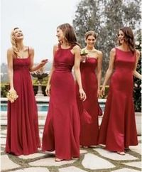 Mix and match bridesmaid dresses. All the same color and material, but different styles for each person.