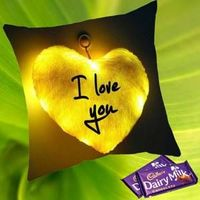 I love you cushion cover and filler with two chocolate