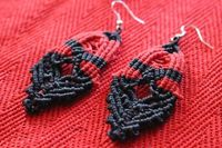 Handmade Black and Red Macrame Drop Earrings. Made From Waxed Cotton Cord £4.99