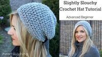 free crochet slightly slouchy hat pattern and video tutorial #crochet #hat
