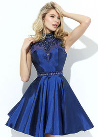 2016 Beaded Illusion High Neck Tulle Underlay Navy Homecoming Dress