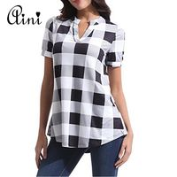 Plus Size 5XL Women Tops and Blouse 2018 Summer Top Casual Short Sleeve V-neck Plaid Blouses Female Loose Shirts Blouse Tops $22.32