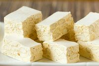 A recipe for traditional Italian torrone candy, made with almonds.