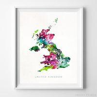 United Kingdom Watercolor Map Print by Inkist Prints - Available at https://www.inkistprints.com