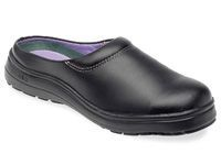 CEB ABS black leather ladies wider fitting mule with Manufactured to EN 345 or EN ISO 20345 StandardSlip resistant antistatic polyurethane sole200 degree heat resistant soleLeather lined with a comfort sockShock absorbing heel, soft leather upper http://w...