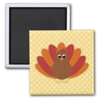Cute Cartoon Thanksgiving Turkey Magnet