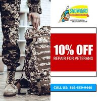 Snowbird Heating & Cooling Inc is providing 10% Off on Repair For Veterans.Contact us at 863-559-9440 to grab the deal.