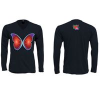Butterfly-Fly Sweet Tri Blend Long Sleeve V Neck Black $55
