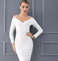New Arrival Bandage Dress Chic White Black Halter Long Sleeve Sexy Women Celebrity Evening Party Dress Wholesale $83.52