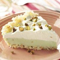 Pistachio refrigerator pie. Made for Easter but with a pretzel crust since Nick doesn't like coconut.