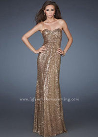 Long Strapless Open Back Coffee Prom Bodice Ruched Dress La Femme 18414