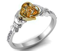 Flower Unique Floral Engagement Ring Two Tone Yellow & White Flower Ring $727.50