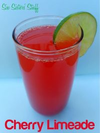 Sonic's Copycat Cherry Limeade Ingredients: 1 can frozen limeade concentrate 1 (2 liter) bottle of lemon-lime soda Juice from 1 (10 oz) jar of maraschino cherries Fresh limes, sliced (optional) Ice