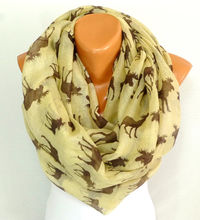 infinity Scarf, Shawl, Scarves, Deer Printed Scarf, Reindeer Painted Shawls, Lightweight Summer Scarf, Gift for Christmas, Free Shipping $16.50