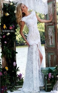 Ivory/Nude Sherri Hill 50023 Sexy Back Floral Lace Evening Gown