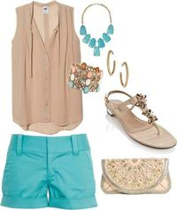 Turquoise and nude
