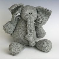 this is cute, I would sew one instead of knitting it. E is for Elephant - PDF Knitting Pattern. $5.00, via Etsy.