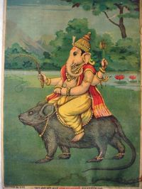 Ganesh on his vahana, a mouse or rat; bazaar art by Raja Ravi Varma (1910) via Wikimedia Commons.