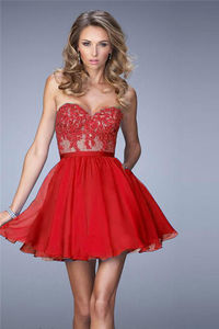 Strapless Beaded Lace Homecoming Dresses