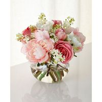 John-Richard Collection First Blush Faux Floral (2 635 SEK) � liked on Polyvore featuring home, home decor, floral decor, silk peony arrangement, blush container, peony artificial flowers, silk peony bouquet and peony silk flowers